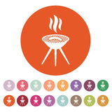The grill icon. Barbeque symbol. Flat. Vector illustration. Button Set Royalty Free Stock Photo