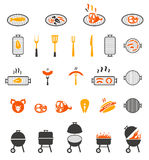 The grill icon. Barbeque symbol. Vector barbecue icons set on white background Royalty Free Stock Photo