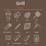 Grill icons. Icons grilling accessories. Oven grill, grill accessories and products. Royalty Free Stock Photography
