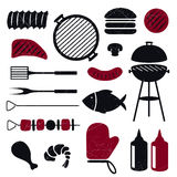 Grill Icons. Illustration of different isolated Barbecue Grill Icons Royalty Free Stock Photos