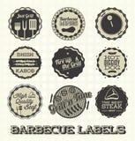 Grill ikony i etykietki Obrazy Stock