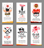Grill illustrations and cards. Stock Photo