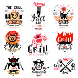 Grill illustrations and logos. Royalty Free Stock Images