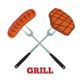 Grill label. Pork, ham and sausage. Barbecue fork, spatula. Made in cartoon flat style Stock Photo