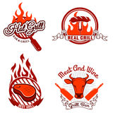 Grill labels and emblems. Design elements for logo, label, emblem, sign Royalty Free Stock Image