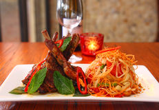 Grill lamb with papaya salad Stock Photo