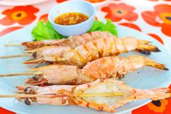 Grill lobster skewered with bamboo-stick Royalty Free Stock Photography