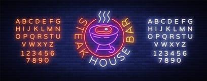 Grill Logo Vector Enseigne au néon, symbole, barbecue lumineux de la publicité, gril, viande de rôti, barre de gril, restaurant illustration libre de droits