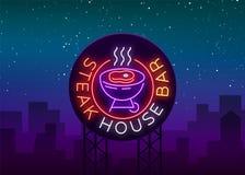 Grill Logo Vector Enseigne au néon, symbole, barbecue lumineux de nuit de la publicité, gril, viande de rôti, barre de gril, rest illustration stock