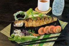 Grill Mackarel fish japanese food Stock Image