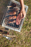 Grill meat. Herb seasoning Lamb rack and beef grilled on charcoal stove outdoor on the grass ground with kitchen equipment knife and fork Royalty Free Stock Photos