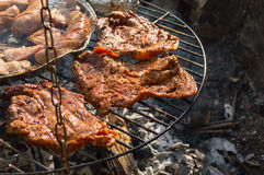 On the grill. Meat and Sausages on the grill Royalty Free Stock Photos