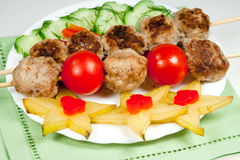Grill meat with vegetables Stock Photo