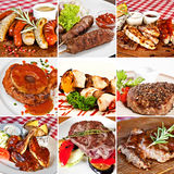 Grill menu collage. Including grilled assorted sausages, lula-kebab, grilled pork ribs and steaks, chicken kebab and pepper steak Royalty Free Stock Photos