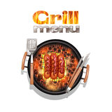 Grill Menu Design. Concept with realistic sausages cooking on bbq vector illustration Stock Images