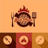 Grill menu design elements. Illustration Grill Menu of in Flat Design Style Stock Photo
