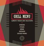 Grill menu design template. Creative flyer layout concept Stock Photography