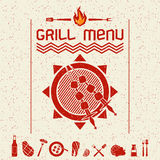 Grill menu emblem  and icons dark red. Cover grill menu and icons in a flat style, dark red color Royalty Free Stock Photos