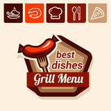 Grill menu emblem. Set of badge, label, logo, icons design templates for grill menu Royalty Free Stock Photo