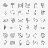 Grill Menu Line Icons Set. Vector Collection of Modern Thin Outline BBQ Picnic Symbols Royalty Free Stock Images