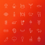 Grill Menu Line Icons. Vector Illustration of Barbecue Symbols over Polygonal Background Stock Images