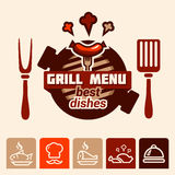 Grill menu logo. Set of badge, label, logo, icons design templates for meat store, grill menu Stock Images