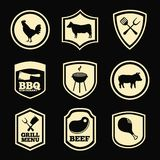 Grill menu. Over black background vector illustration Stock Photography