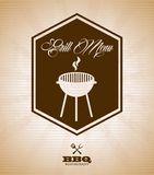 Grill menu. Over vintage background vector illustration Royalty Free Stock Photography