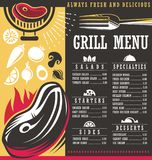 Grill menu print template design. Restaurant menu creative concept with grilled meat on fire and food related design elements and graphic resources. Vector Royalty Free Stock Photography