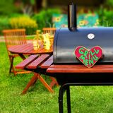Grill Menu Sign on Wood Heart Stock Photography