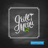 Grill Menu Special Offer Poster on Chalkboard Royalty Free Stock Image