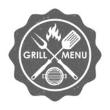 Grill menu stamp in grunge style royalty free illustration