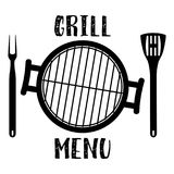 Grill menu symbol. Barbecue and Grill icon with oven, fork and spatula. Vector illustration in flat style Royalty Free Stock Photo