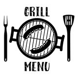 Grill menu symbol. Barbecue and Grill icon with oven, fork and spatula. Vector illustration in flat style Stock Photo