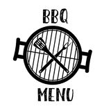 Grill menu symbol. Barbecue and Grill icon with oven, fork and spatula. Vector illustration in flat style Stock Photography