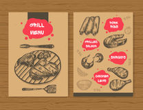 Grill menu template. Ready design BBQ menu for restaurant, bar, etc. Hand drawn sketch meat products. Vector illustration. royalty free illustration