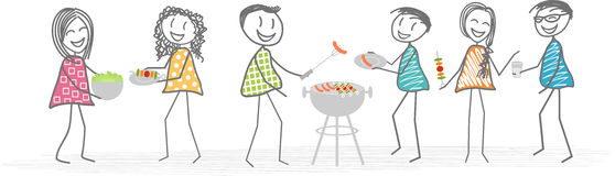 Grill mit Freunden oder Nachbarn vektor abbildung