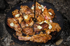 Grill mit Schweinefleisch- und Schafbutter Stockfotos