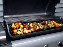 Grill mit Shish Kebabs Stockbilder