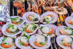 Grill mollusk mussel Royalty Free Stock Image