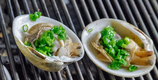 Grill mollusk mussel Stock Photos
