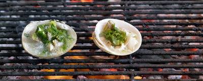 Grill mollusk mussel Royalty Free Stock Photos
