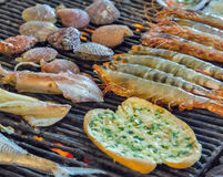 Grill mollusk mussel  FRESH GRILLED FISH & SEAFOOD Stock Image
