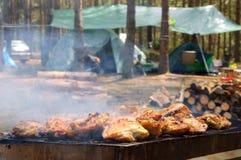 Grill na campingu w lesie Obrazy Royalty Free