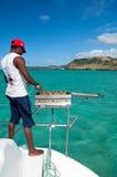Grill na catamaran desce zdjęcia royalty free