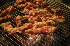 Grill oder BBQ-Grill mit Frischfleisch Lizenzfreies Stockbild