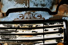 Grill of an old GMC pickup. HAWLEY, MINNESOTA, August 22, 2017: The old pickup from the 40`s or 50`s, is a Chevrolet or GMC, colloquially referred to as Chevy Royalty Free Stock Photography