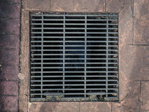 A grill over a drain set into the sidewalk. A grill over a drain in Asia Royalty Free Stock Photos