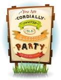 Grill-Partei-Einladung auf hölzernem Zeichen stock abbildung