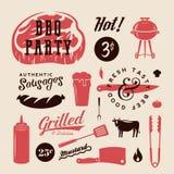 Grill-Partei-Vektor-Retro- Aufkleber oder Symbole Fleisch-und Bier-Ikonen-Typografie-Muster Steak, Wurst, Grill-Zeichen lizenzfreie abbildung
